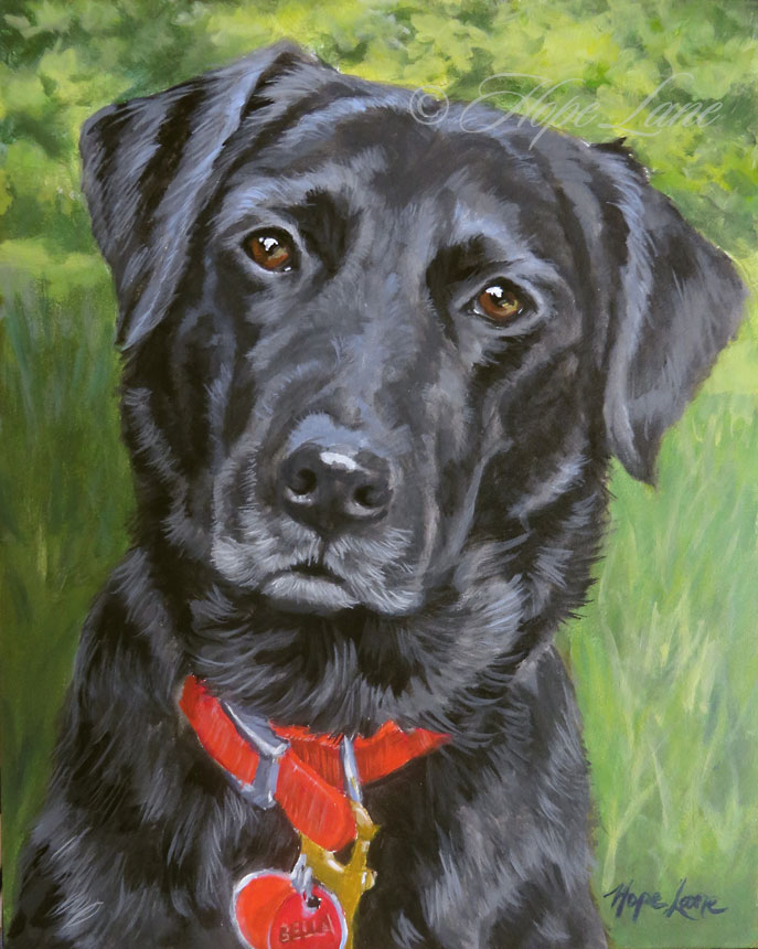 Bella the black Lab custom pet portrait painting by Hope Lane