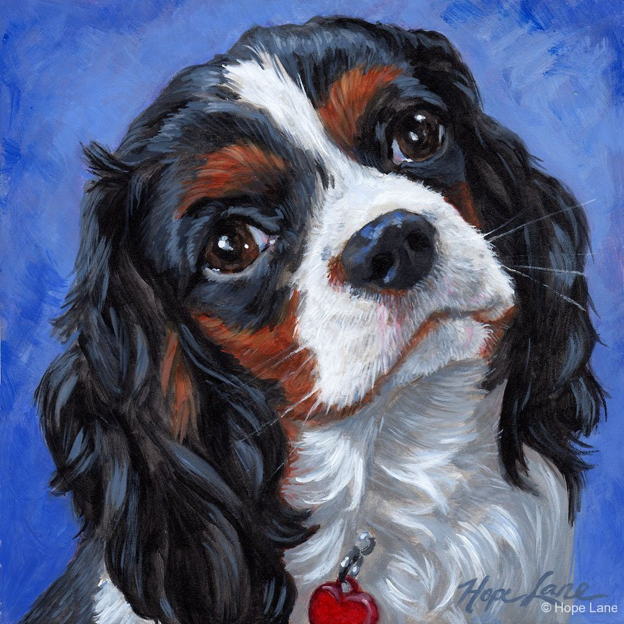 Ruby, custom pet portrait of a King Charles Cavalier Spaniel by Hope Lane